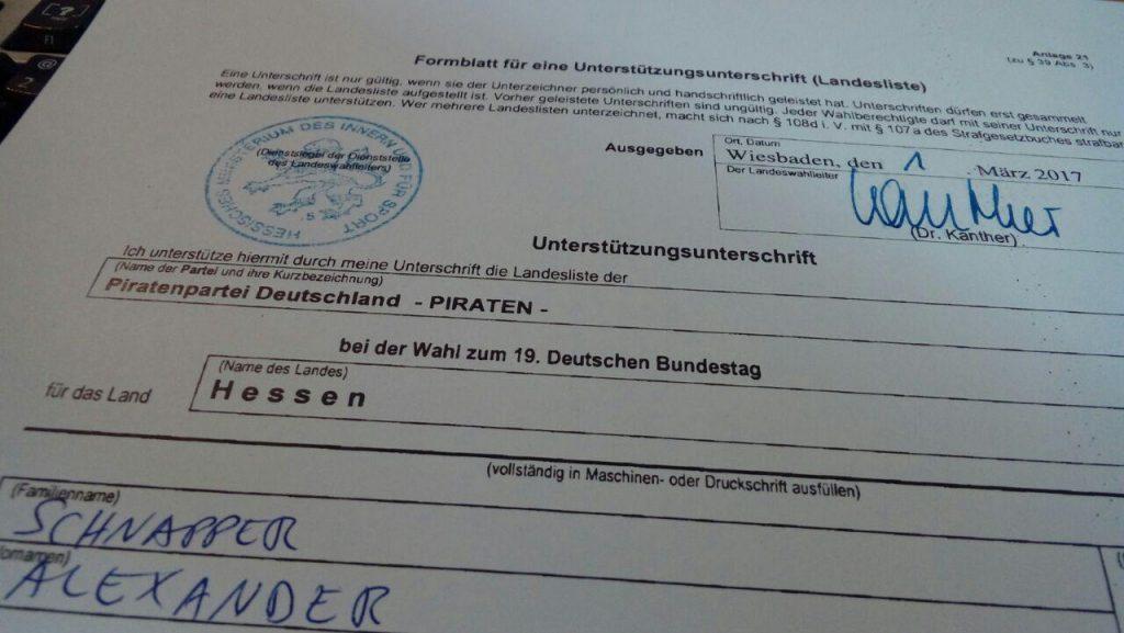 Formular Unterstützungsunterschrift Piratenpartei Hessen 2017