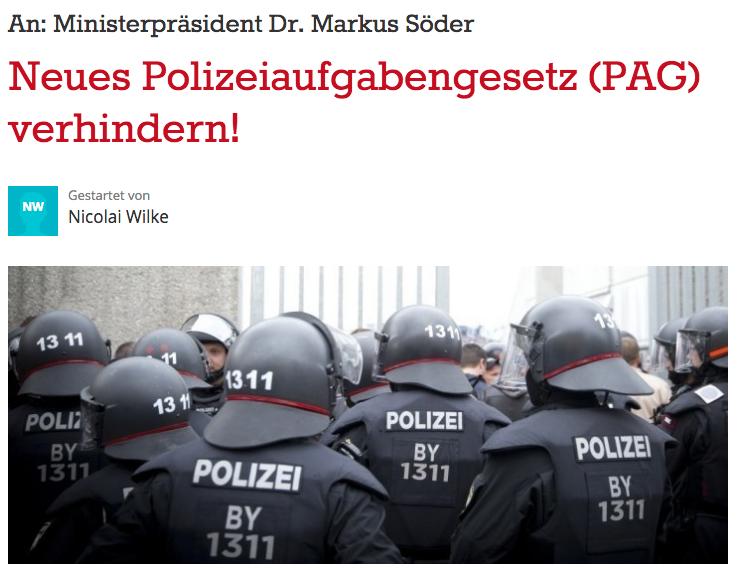 Neues Polizeiaufgabengesetz (PAG) verhindern!