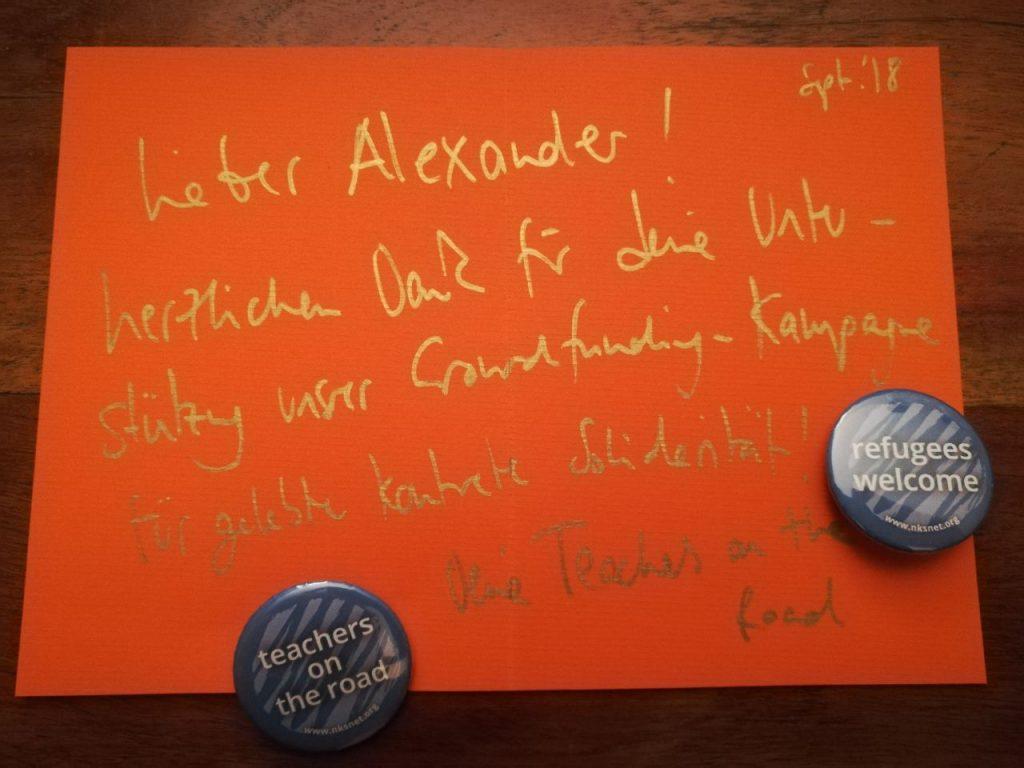 Dankeskarte von Teachers on the Road Frankfurt für meine Unterstützung bei der Crowdfunding Kampagne