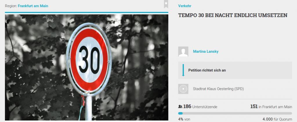 Petition Tempo 30 bei Nacht endlich umsetzen