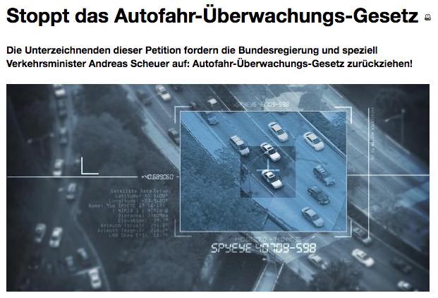 Stoppt das Autofahr-Überwachungs-Gesetz