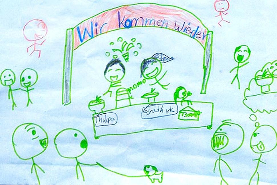 Eine Zeichnung der Tochter, die Hoffnung gibt auf eine Wiedereröffnung, Quelle: https://www.gofundme.com/lhamobistro
