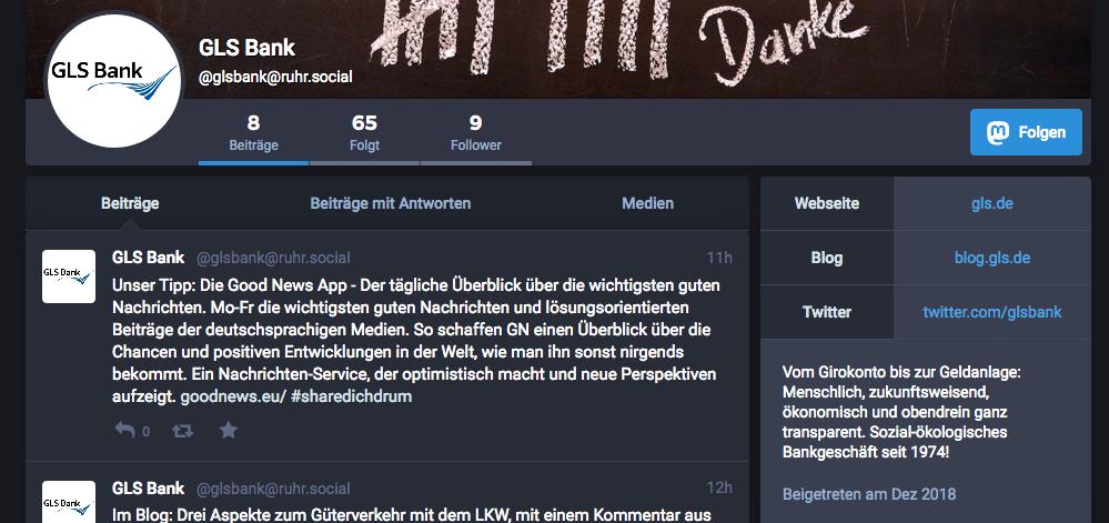 Screenshot GLS Bank auf ruhr.social