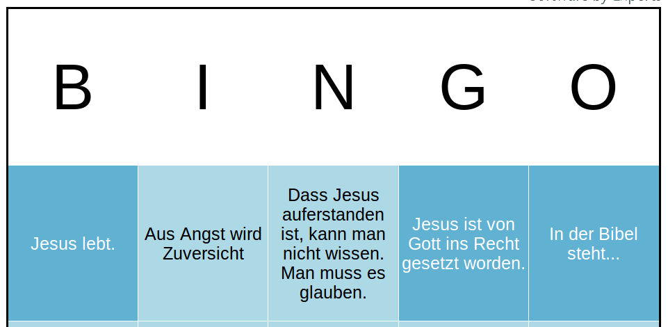 Buzzword Bingo Osterpredigt