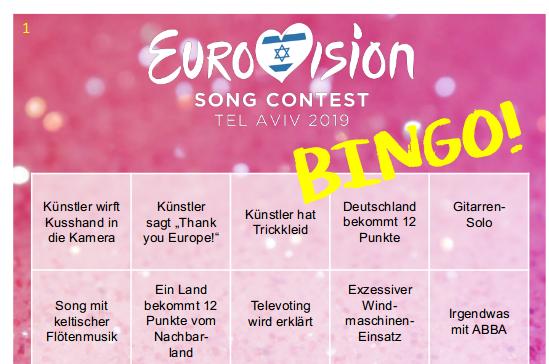 Screenshot ESC Bingo von Verenas Welt
