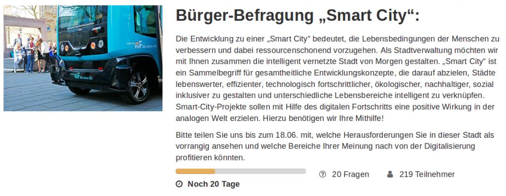 """Screenshot der Bürger-Befragung """"Smart City"""""""