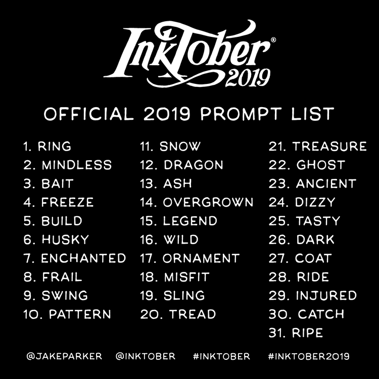 Inktober Officeial 2019 Prompt List