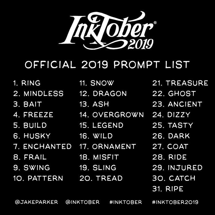 Inktober Officeial 2019 Prompt List
