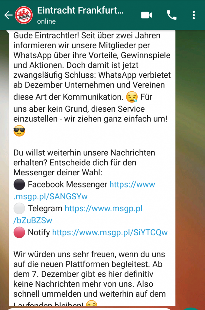 Screenshot Eintracht Frankfurt WhatsApp