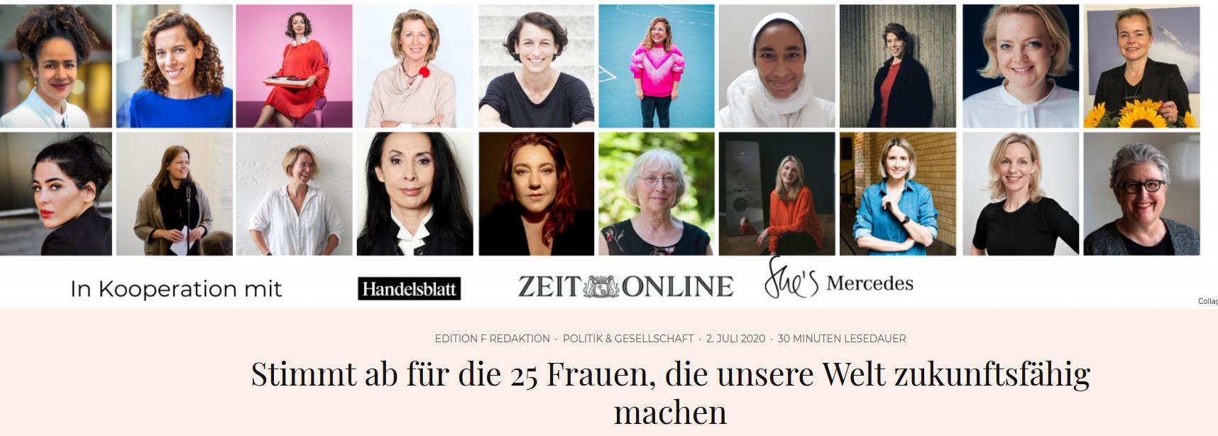 Screenshot von Edition F zum 25 Frauen Award